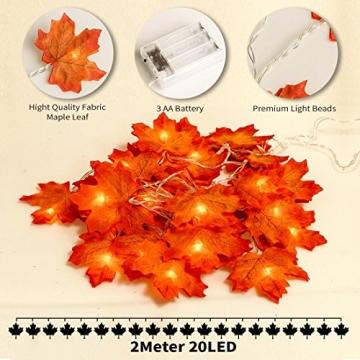 Herbstdeko Ahornblätter Lichterkette LED Blättergirlande 3