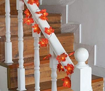 Herbstdeko Ahornblätter Lichterkette LED Blättergirlande 4