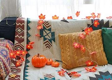 Herbstdeko Ahornblätter Lichterkette LED Blättergirlande 6