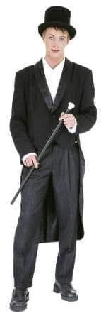 Herren-Showfrack schwarz mit Satinkragen und Futterstoff - 1