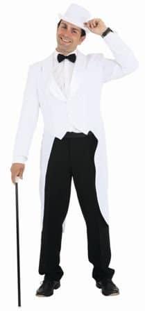 Herrenfrack mit Satinkragen weiß - 1