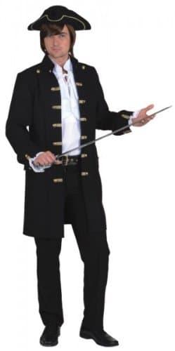 Herrenjacke schwarz de Luxe für Piraten - 1