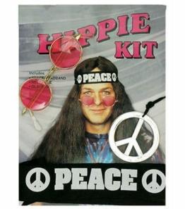 Hippie-Set: Hippie-Boy-Set mit Brille, Kette und Kopfband - 1
