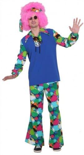 Hippieoberteil blau-bunt mit Blumen - 1