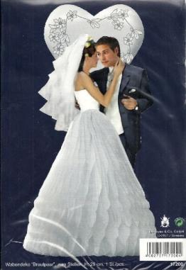 Hochzeitsdeko: Brautpaar Wabendeko, 29 cm Höhe, 19 cm Durchmesser - 1