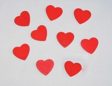 Holz-Konfetti: große rote Herzen, 25 mm, 10 Stück - 1
