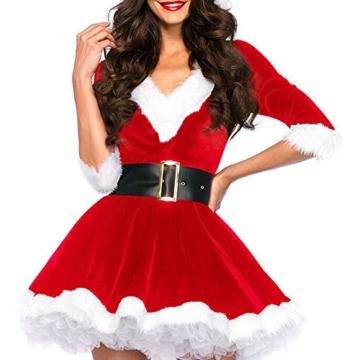 Honeystore 2016 Neuheiten V-Auschnitt Weihnachtsmann Kostüm Elfe Weihnachten Santa Weihnachtsfrau Damen Outfit Rot LC7278 -