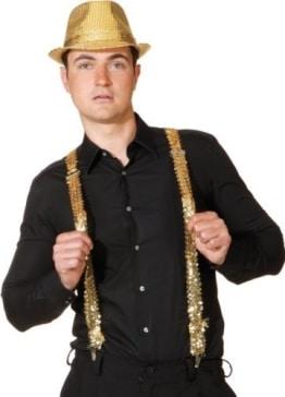 Hosenträger: Bundhalter, Pailletten, gold - 1