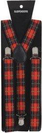 Hosenträger: Schotten-Hostenträger, rotes Schottenmuster - 1