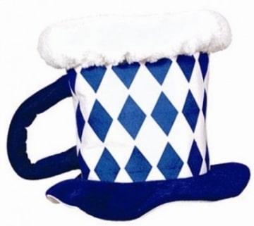 Hut: Bayerischer Bierkrug blau/weiss als Kopfbedeckung - 1