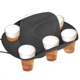 Hut: Bierbecher-Hut für 6 Gläser, als Tablett nutzbar, schwarz - 1