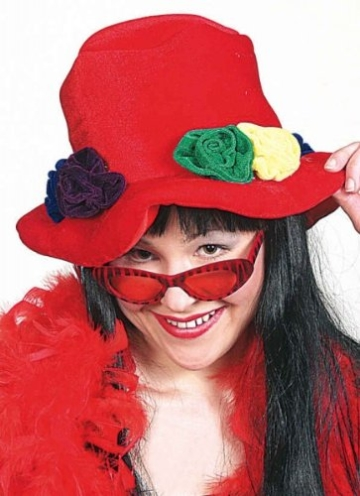 Hut: Blumenhut, rot, mit Blüten - 1