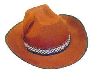 Hut: Cowboy-Hut, mit Feder, braun, Kopfweite 59 - 1