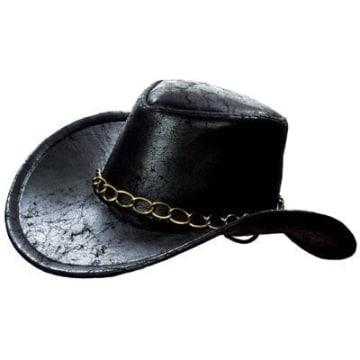"""Hut: Cowboyhut """"Bill"""", Kette als Hutband, schwarz, Kopfweite 59 - 1"""
