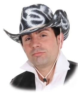 """Hut: Cowboyhut """"Freestyle"""", schwarz-weißes Sprühmuster, Stroh - 1"""
