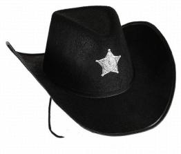 Hut: Cowboyhut, mit Sheriffstern, schwarz, Kopfweite 59 - 1