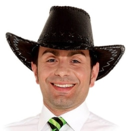 Hut: Cowboyhut, Pailletten, schwarz - 1