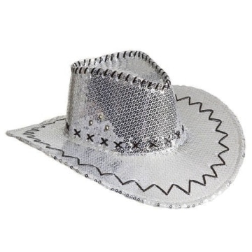 Hut: Cowboyhut, Pailletten, silber - 1