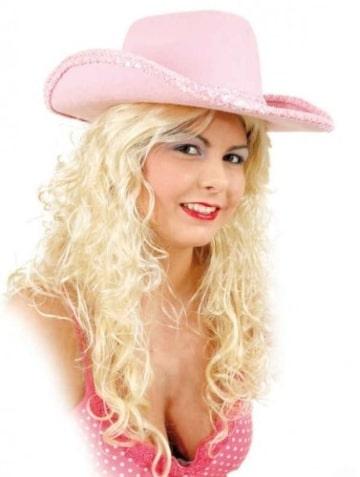Hut: Cowboyhut, pink, mit Paillettenband, Kopfweite 58 - 1