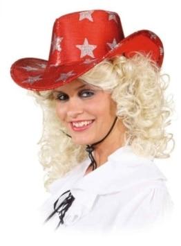 Hut: Cowboyhut, rot, silberne Sterne - 1