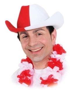 Hut: Cowboyhut, rot-weiß - 1