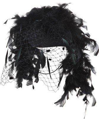 Hut: Damenhut mit Federboa und Netz, schwarz, Einheitsgröße - 1