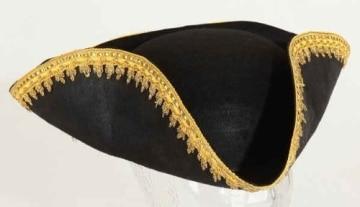 Hut: Dreispitz, schwarz, mit Goldborte, Kopfweite 59 - 1