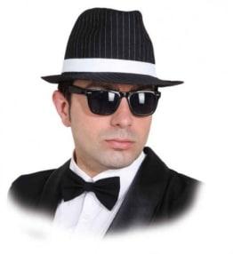 Hut: Gangsterhut, schwarz, Nadelstreifen, Kopfweite 59 - 1