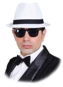 Hut: Gangsterhut, weiß, Nadelstreifen, Kopfweite 59 - 1