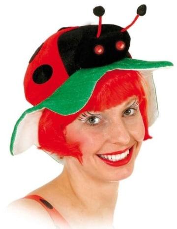Hut: Käfer-Hut, schwarz-rot, mit Marienkäfer - 1