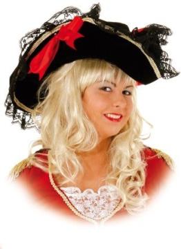 Hut: Lady-Hut, schwarz, mit Spitze und roten Schleifen, Kopfweite 59 - 1