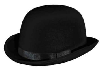 Hut: Melone, schwarz, mit Ripsband als Hutband, Kopfweite 59 - 1