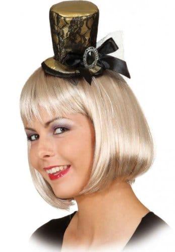 """Hut: Mini-Hut """"Alice"""", mit Spitze und Zierschnalle, gold - 1"""