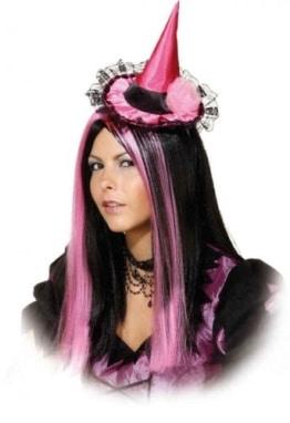 Hut: Mini-Hut für Hexen, pink-schwarz - 1
