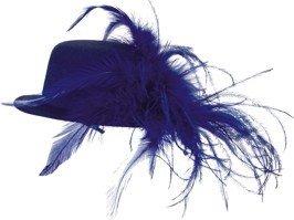 Hut: Mini-Hut, mit Federn, blau, Einheitsgröße - 1