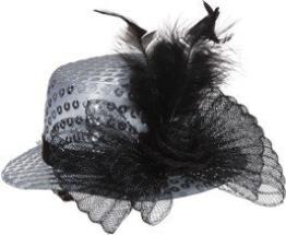 Hut: Mini-Hut, Pailletten, mit Feder und Tüll, silber - 1