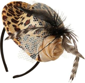 Hut: Mini-Hut, Tiger, mit Feder, Blüte und Netz - 1
