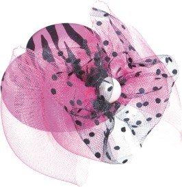 Hut: Mini-Hut, Zebramuster, mit Tüll, pink-schwarz - 1