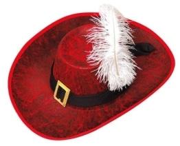 Hut: Musketierhut, rot, schwarzes Band mit Schnalle, weiße Feder, Kopfweite 59 - 1