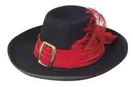 Hut: Musketierhut, schwarz, mit rotem Band und Feder, Kopfweite 59 - 1