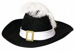 Hut: Musketierhut, schwarz, mit weißem Band, Kindergröße - 1