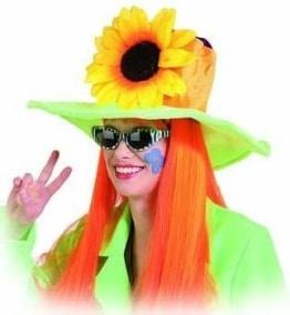 Hut, neonfarben, mit Blumendekor und Sonnenblume - 1