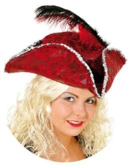 Hut: Piratenhut, Dreispitz, rot, mit Feder und Silberborte - 1