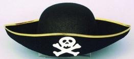 Hut: Piratenhut, mit Totenkopf, schwarz, Einheitsgröße - 1