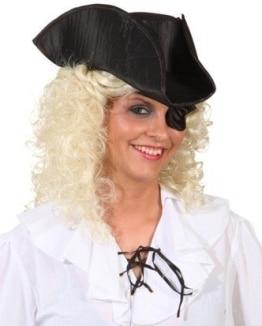 Hut: Piratenhut, schwarz, mit Augenklappe, Einheitsgröße - 1