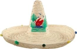 Hut: Riesen-Sombrero, Stroh, naturfarben, bunter Rand - 1