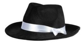 Hut: Samthut, schwarz, mit weißem Hutband - 1