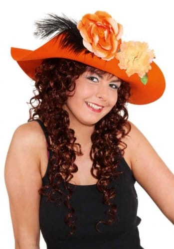 Hut: Schlapphut, orange, mit Blumen - 1
