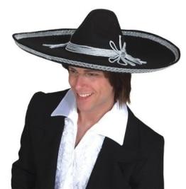 Hut: Sombrero, schwarz, weiß abgesetzt, Einheitsgröße - 1