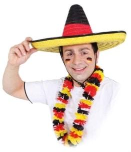 Hut: Sombrero, Stroh, schwarz-rot-gelb, Deutschlandfarben - 1